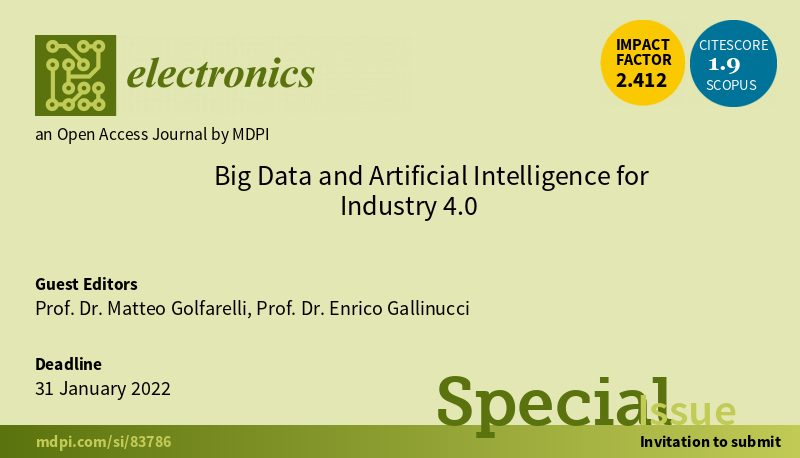 Call-for-paper for MDPI Electronics's Special Issue on Big Data and Artificial Intelligence for Industry 4.0